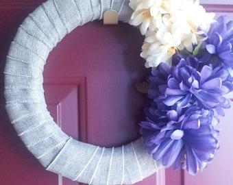 Burlap Wreath, Flower Wreath