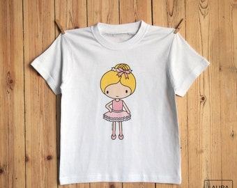 ballerina girl t-shirt / tee-shirt girl ballerina / digital print