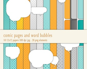 Comic-Style,18 x Digital Paper - 28 x Speech-Bubble Clipart - Digital Collage,PNG+JPG,Instant Download