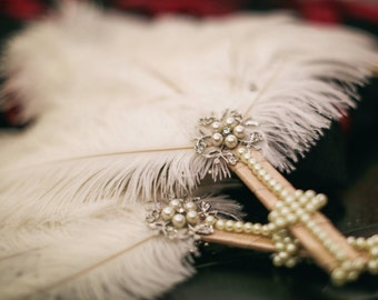 Ivory Ostrich Feather Fan w/ Pearls & Embellishments, 20's Feather Fan, Great Gatsby for Bride or Bridesmaids