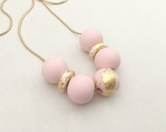 Pink, White and Gold Leaf Polymer Clay Necklace