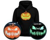 Grinning Jack Pumpkin GLOW IN DARK Kids Unisex Halloween Hoodie (6 Colours)