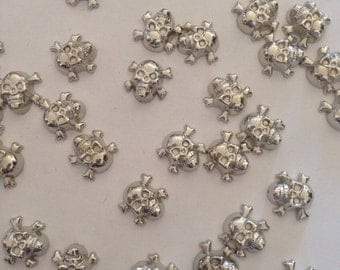 Skulls in silver and gold beads, gold/silver, jewellery and jewellery, beads for handicraft, charms, craft, supplies, pack 30 units