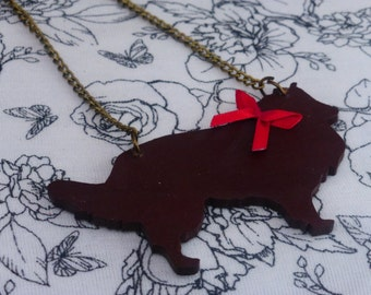 Hand painted Wooden Rough Collie Bronze Necklace