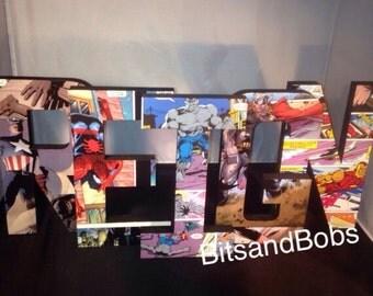 Marvel superhero letters, superhero wooden letters , superhero present , superhero party , superhero wedding , superhero room