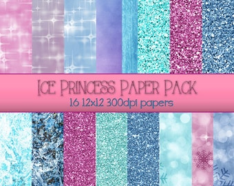Ice Princess Sparkling Winter Holiday Scrapbook Papers