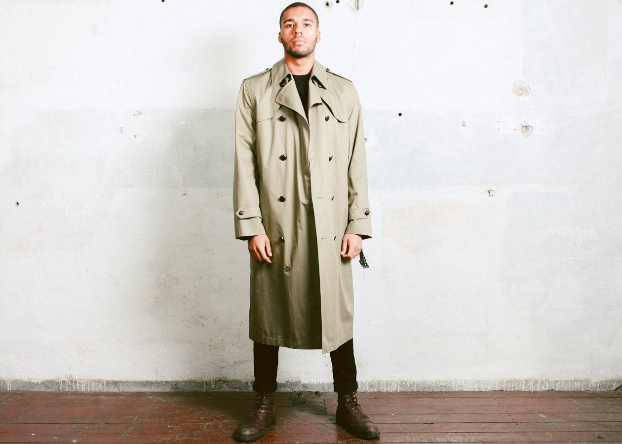 Vintage Men's TRENCH Coat . Beige 1980s Duster Coat Mens Rain Coat ...