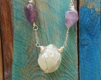 Agate & Amethyst silver necklace