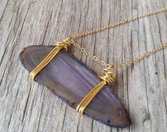 Purple agate slice necklace