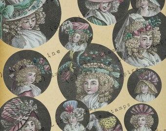 18th Century Women's Fashion Head Fashion Hairstyles 2 Inch Circles for Pendants Downloadable Printable Scrapbook Paper Crafts