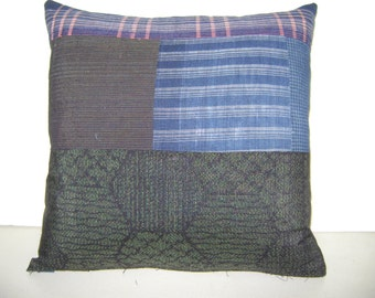 "Patchwork ""Boro"" Pillow from Repurposed Futon Covers"
