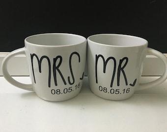 Mr. and Mrs. Mug set w/custom date
