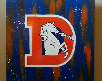 Denver Broncos spray art on wood | mounting hardware on backside | 17 x 17 | free shipping!