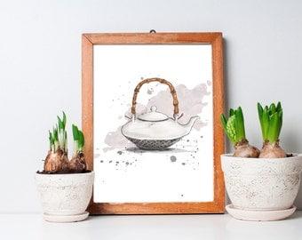White tea pot illustration / small sizes / watercolor / digital art / art print / 5x7 or 8x10 inches