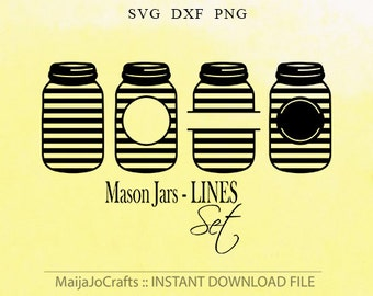 Mason Jar monogram SVG cut files DXF file instant download Mason Jar silhouette cameo cricut designs file Cute Png Clipart Vector file PNG