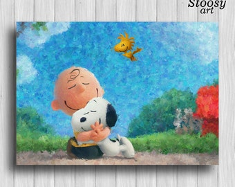 Charlie Brown and Snoopy print childrens room poster friends art nursery gifts