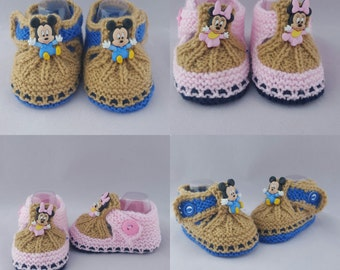 Mickie Mouse or Minnie Mouse baby booties, baby slippers,baby gift, knitted  booties, baby shower, newborn, handmade, shoes for babies, gift