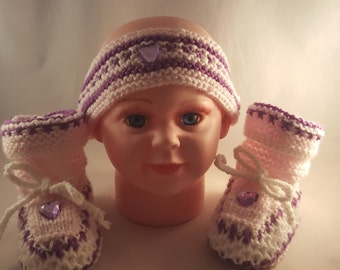 Purple Headband and booties with a heart
