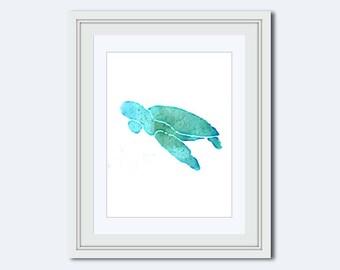 Sea Turtle Printable -  Sea Turtle Art Print - watercolor turtle - sea life print - beach decor - Sea life theme - printable - Printable Art