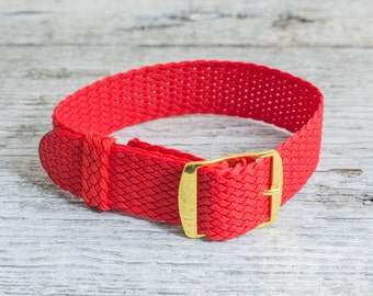 Red perlon strap with gold buckle ( 18mm ) waterproof nylon strap, watch strap, watch band, perlon band