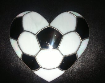 Football / Footbal Symbol / Stained Glass / Suncatcher Design / Handcrafted Glass Sun Catcher