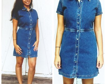 Vintage Denim Mini Dress by Tommy Hilfiger  Size 8