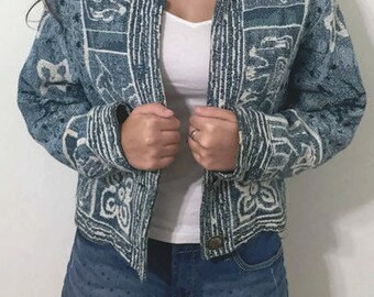 Vintage Blue and White Jacket Elephant and flowers Prints Hippie Jacket Tapestry blazer by Painted Pony
