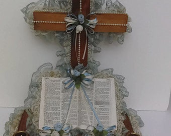 Adorned vintage Wooden Cross with Bible 70's