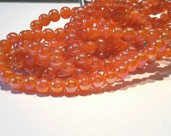 Lot 15 beads 6mm orange iridescent Pearly / round glass beads