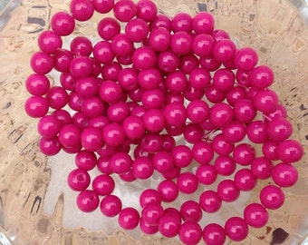 8mm pink glass beads / set of 10 Fuchsia pink glass pearls