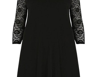New Emily Black Lace Evening Plus Size Swing Dress