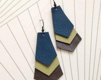 Leather hand cut geometric earrings