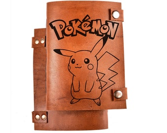 Pokemon journal - Pikachu notebook - leather diary - pokemon notepad - Personalized journal - sketchbook