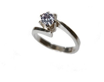 Solitaire ring Silver 925 cubic zirconia silver ring approx. 4 m stone silver jewellery