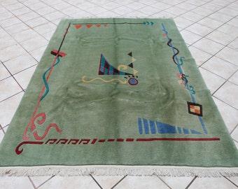 Nepal Hand Wowen Wool Rug, Area Rug, Distressed Rug, Modern Rug, Green