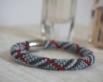 Beaded Crochet Bracelet -Beadwork Bracelet - Rope Bracelet - Crochet bracelet  - Sead bead bracelet  - Beaded bangle