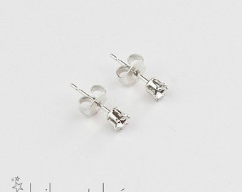 Small Swarovski crystal stud earrings, sterling silver 925