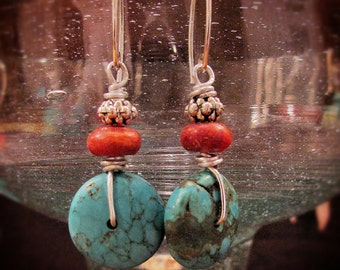 Dangle Earrings of Turquoise & Coral