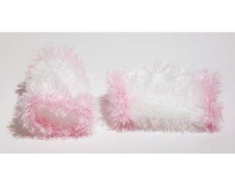 Silly Mittens, vingerless gloves White/ Pink