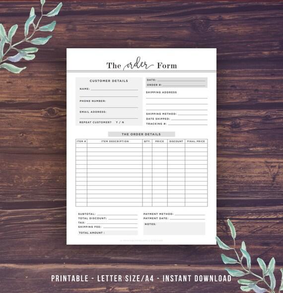 Order Form Template Printable Custom Order by ...