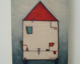 House with red roof giclee print on wood
