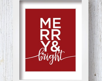 Merry & Bright Print, Printable Decor, DIY, Digital Download, Holiday Decor, Holiday Wall Art
