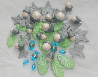 Silver acorn & oak leaf bead set  - pagan handfasting jewelery craft