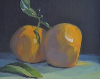 Tangerines, still life, oil painting, realism, kitchen art, kitchen decor, impressionism, small art