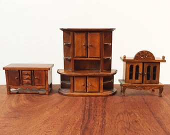 Dollhouse Furniture Set 1:12 scale, 3 pieces of oak stained honey gold - Dining Room or Living Room set