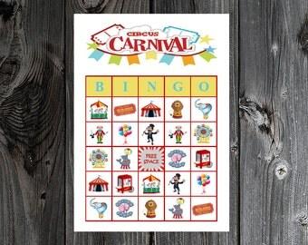 Circus Carnival Bingo 30 Printable Birthday Party Bingo Game Cards