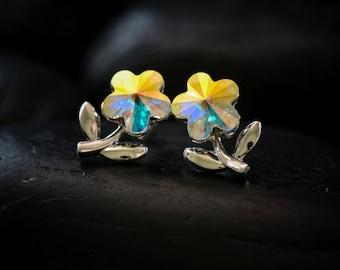 Mystical Crystal Daisies - Swarovski Crystals finished in a glossy Rhodium finish