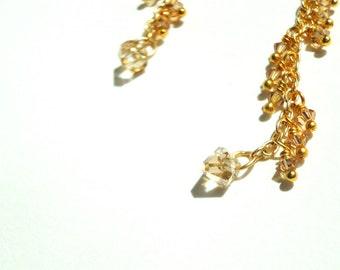 Swarovski, Zig Zag, Fringe, Gold Plated Earrings, Swarovski Earrings, Swarovski Crystals, Champagne Gold, Topaz Earrings, Unique Jewelry