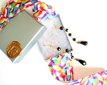 Jet Black Earrings, Czech Glass Beads, Swarovski Crystals, Long Earrings, Beaded Earrings, Gold Plated, Black Jewelry, Minimal Jewelry