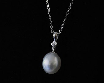 South Sea Pearl and Diamond Pendant 14K White Gold 10.1mm